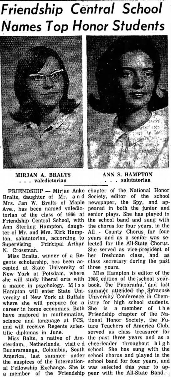 Hampton - Friendship Central School Names Top Honor...