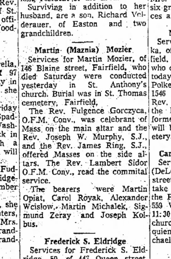 Martin Mozier Obit - 2-3-1960 - Rev, i>t. offi-! wooq: Surviving in addition to...