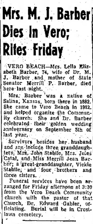 Stabile - Mrs. ML J. Barber Dies In Vero; Rites Friday...