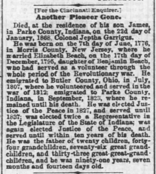Jeptha Garrigus Obituary 1868 - For tbe Cincinnati Enquirer. Another Pioneer...