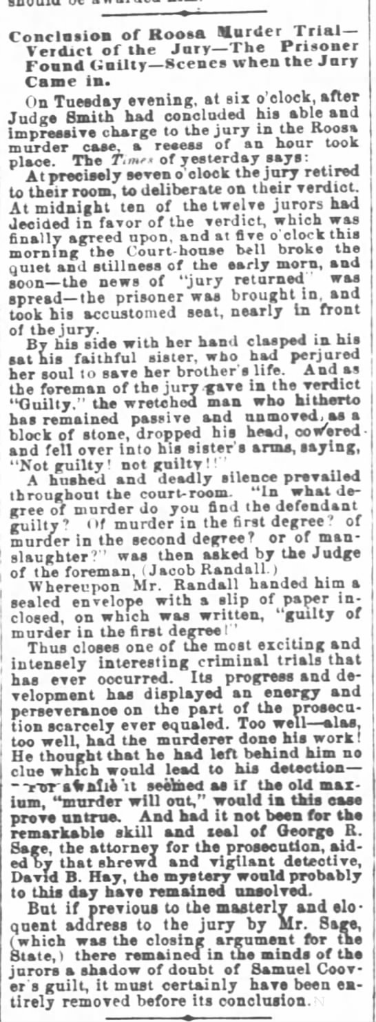 Verdict of first Covert trial Cincinnati Daily Enquirer 8 March 1866 page 2 - Conclusion of Hoots Snurder Trial Veidict of...