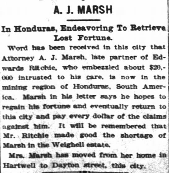 Andrew J. Marsh flees to Honduras - A. J. MARSH In Honduxa, Endanrorlng To...
