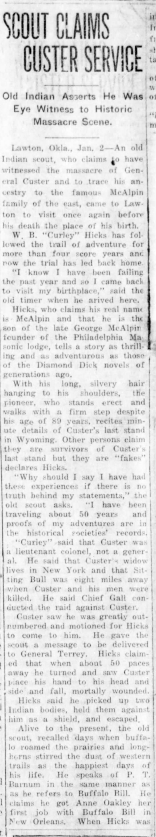 Man claiming to be survivor of Battle of the Little Bighorn gives an account of his experiences - Old Indian Asierts He Was Eye Witness to...