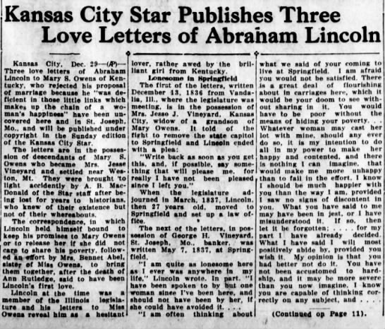 - Kansas City Star Publishes Three Love Letters...
