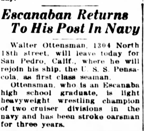 10 Aug 1938 Article - EHeartaban Returns To Hin Post In Navy Walter...