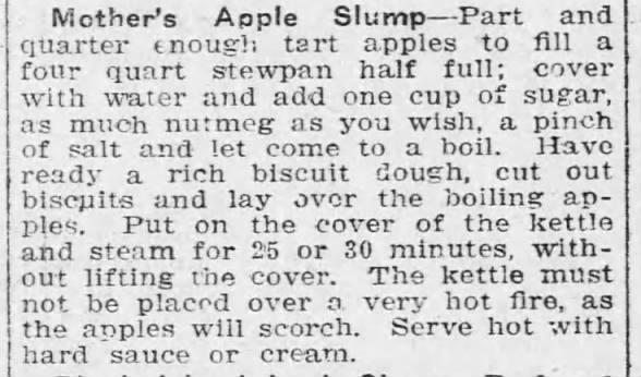 Recipe: Apple slump, 1916