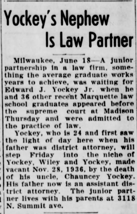 Edward J Yockey Jr 19 Jun 1938 Sunday pg 10