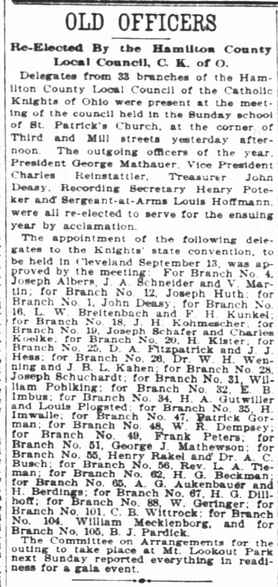 Pohlking 23 Jul 1900 - OLD OFFICERS Re-Elaotadl Re-Elaotadl...