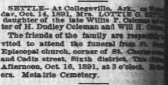 Mrs. Lottie G. Settle death - SETTLX- At Conea-evCle. dar. Oct 14. 1891. Mrs....