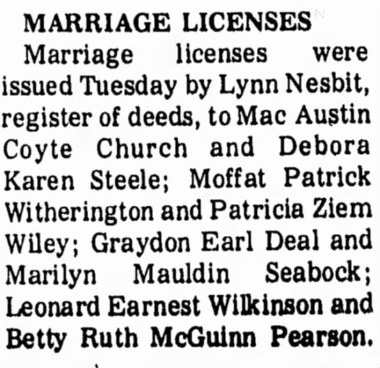 WILEY-WITHERINGTON marriage license - MARRIAGE LICENSES Marriage licenses were issued...