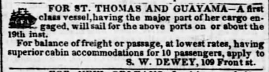 Guayama trade vessel to sail Dec 1841 - FOR ST. THOMAS AND GUAYAMA- Lfi lUX SI, 1HU.SS9...
