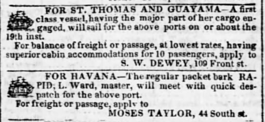 Guayama trade Dec 1841 - FOR ST. THOMAS AND GUAYAMA-A GUAYAMA-A...