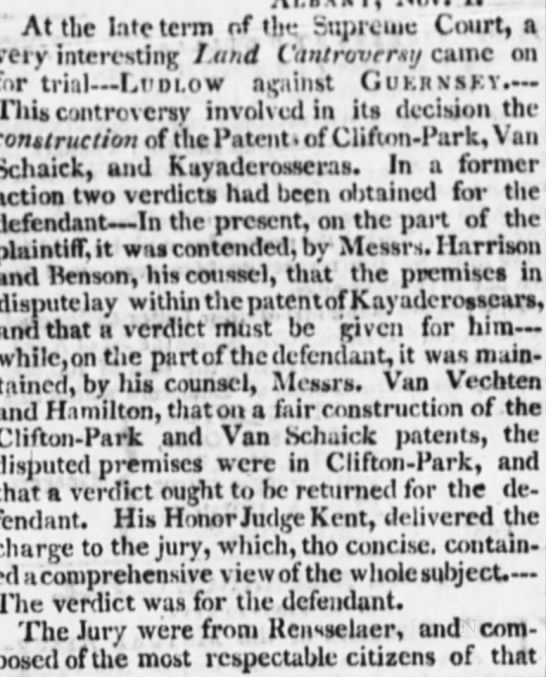 1802 Ludlow verdict - ' At the late term of the Supreme Court, a very...