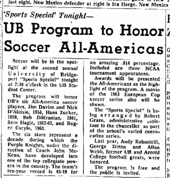 Nick D'Aluisio honored by UB Program 18 March 1964