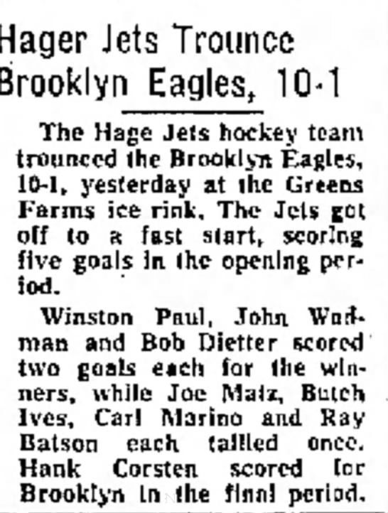 Hager Jets, Ray Batson - Hager Jets Trounce Brooklyn Eagles, 10-1 10-1...