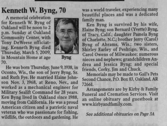 - Byng Kenneth W. Byng, 70 A memorial celebration...