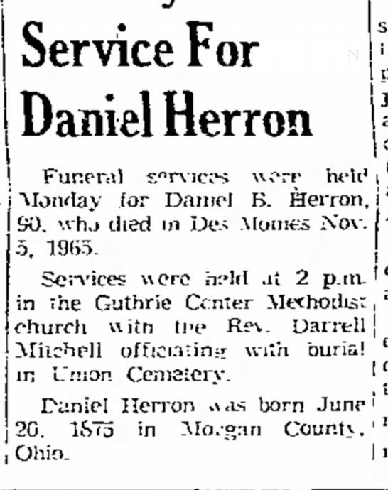 - post 1 I } j Ohio. Service For Daniel Herron...