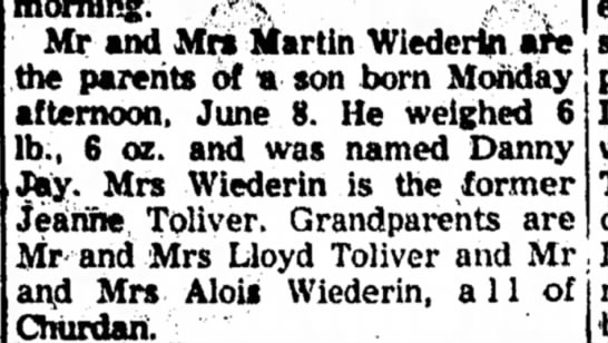 Danny Wiederin birth - Mr and Mr« Martin Wiederin are; the parents of...