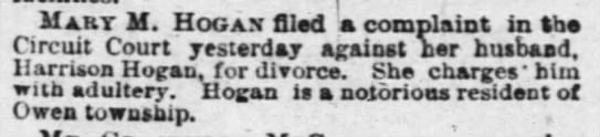 16june1885courier - Mart M. Hogax filed a complaint in She Circuit...