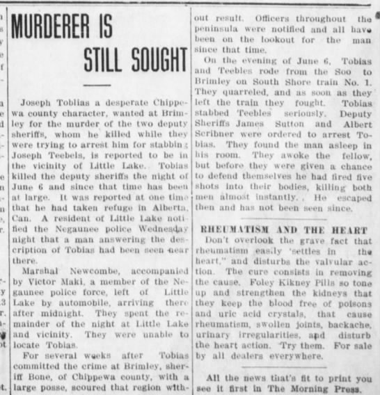 10-28-1913 sutton - IS STILL SOUGHT Joseph Toblias a desperate...