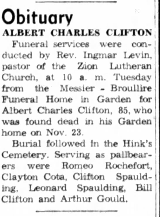 - Obituary ALBERT CHARLES CLIFTON Funeral...
