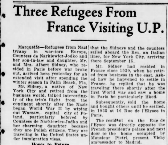 - Three Refugees From France Visiting U.P....