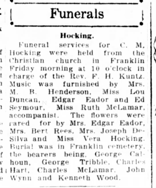 jacksonville daily journal 22 jan 1921 page 4 - Funerals i Hocking. Funeral services for C. M....