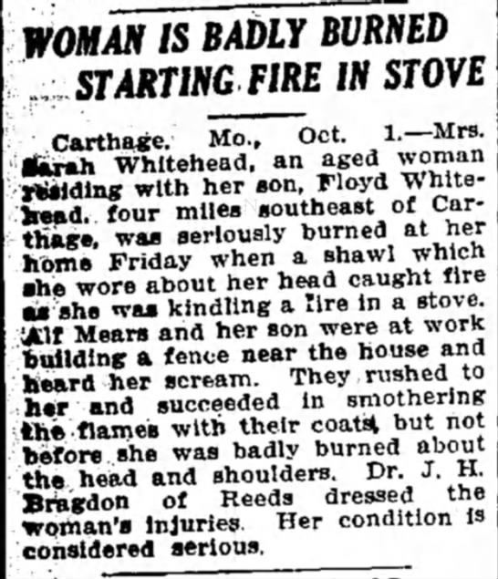 Mears, Alf helped Sarah Whitehead on fire Joplin Globe 2Oct1921 - WOMAN IS BAbLY BVRNED STARTING FIRE IN STOVE...