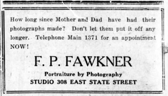 Fred Fawkner advert 1924 - I j J | 1 How long since Mother and Dad have...