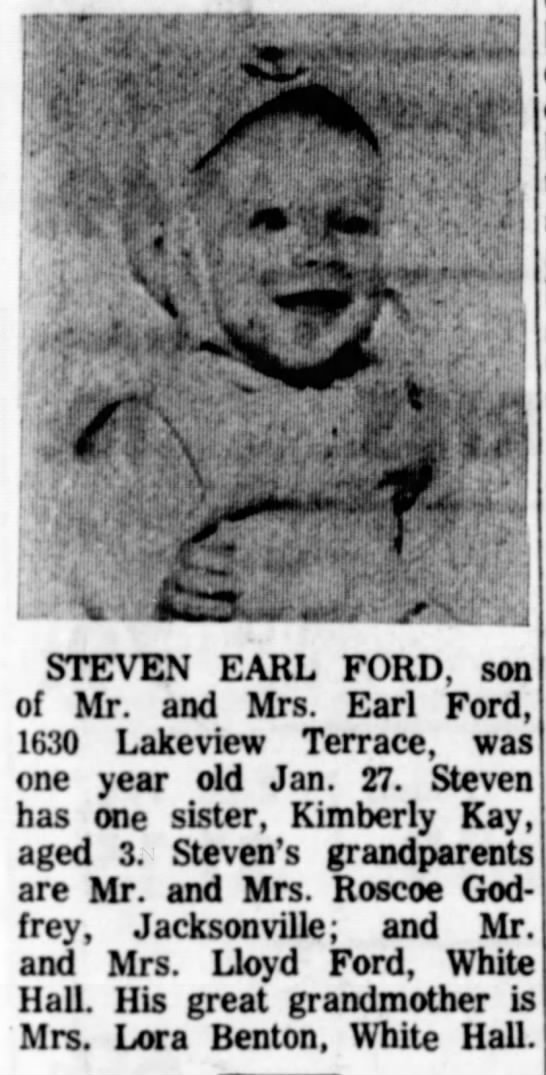 Steven Earl Ford - birth announcement - STEVEN EARL FORD, son of Mr. and Mrs. Earl...