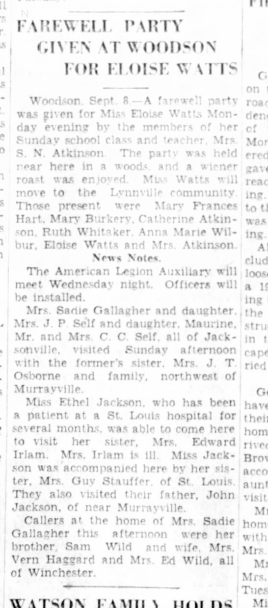 Aunt Ethel had been in St Louis Hospital - FAREWELL PVRTY GIVEN \T WOODSON FOR El OISE Vv...