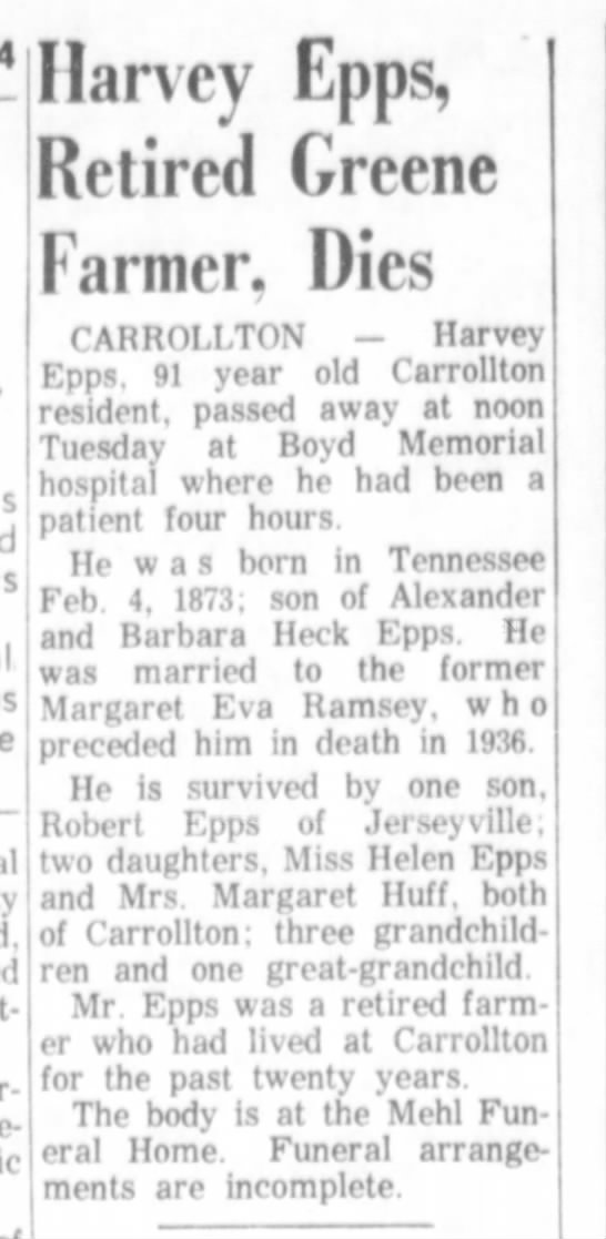 "Harvey Freeman Epps obit - j J£pp(^ Retired Greene had *"" 8 Hp wgs jn..."