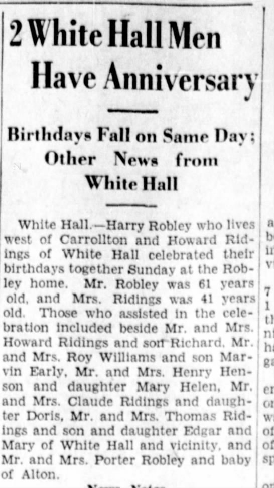 Henry Robley-B'day-Jacksonville Daily Journal, Illinois-p.7-16 Sep 1936 - 2 White Hall Men Have Anniversary y Birthday*...