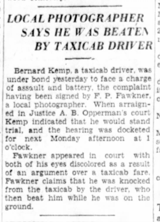 Fred Fawkner taxi beating 1936 - LOCALrHOTOCRiPHER SOS IIE If IS BEATEy Ft)...