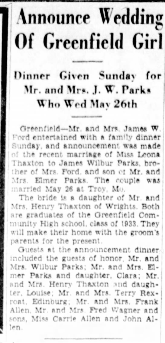 Jacksonville (Ill.) Daily J, 6-21-35; Leona Thaxton to James Wilbur Parks - Announce tedding Of Greenfield Girl Oinnrr...