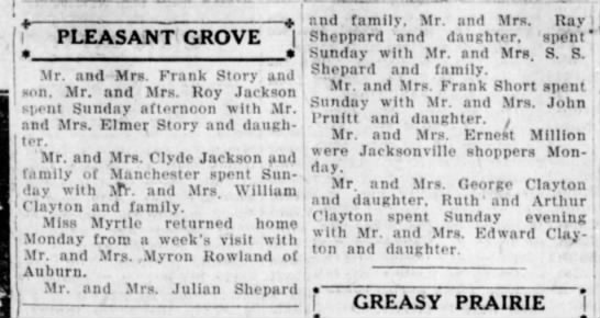 - PLEASANT GROVE | a » Mr. and Mr*. Frank Story...