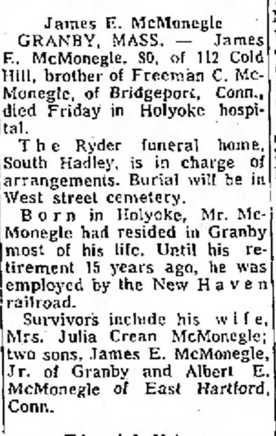 The Bridgeport Telegram, Bridgeport, CN 10 Feb 1970 - James ft. McMoneclc GRANHY, MASS, — James F.....