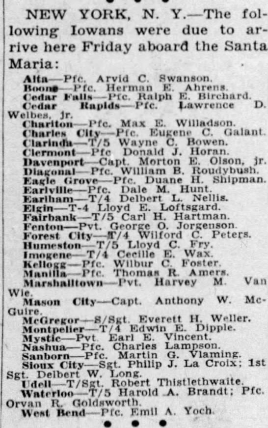 Des Moines Tribune Sept.29,1945 - NEW YORK, N. Y. The following following Iowans...