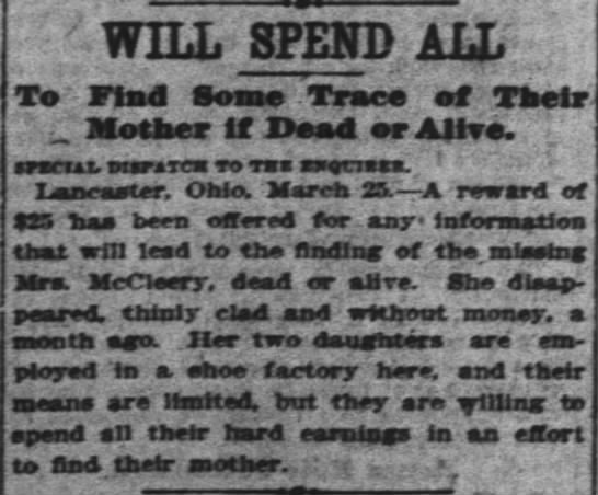 26 March 1902 - WILL SPEND ALL To Find Some Trace ef Their...