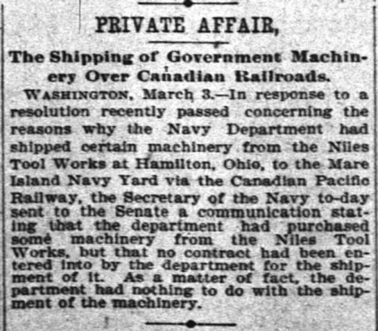 Private Affair The Shipping of Government Machinery Over Canadian Railroads