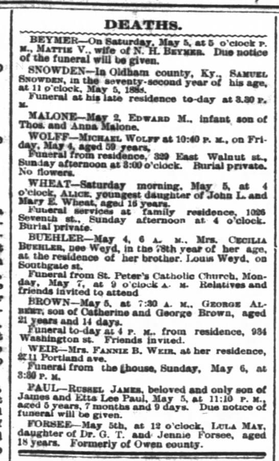Louisville death notices, 6 May 1888 - Pkcnsyt-ranla DEATHS. BETMER On Basurday. May...