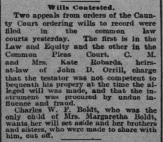 John D. Orrill Jr. Will Contested - Wills Contested. Two appeals from orders of the...