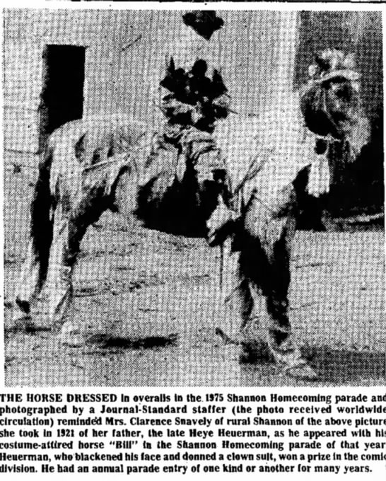 "Heye Heuerman and his horse ""Bill"". - THE HORSE DRESSED In overalls in the. 1)75..."