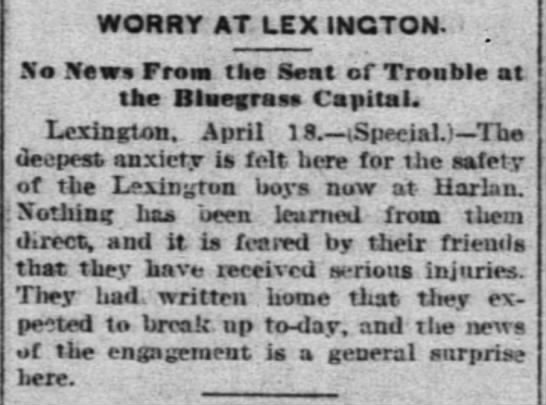 - WORRY AT LEX INCTON. Sm News From the Seat of...