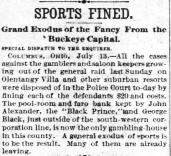 Sports Fined | Grand Exodus of the Fancy from the Buckeye Capital - SPORTS FINED. Grand Exod tutor the Fancy From...