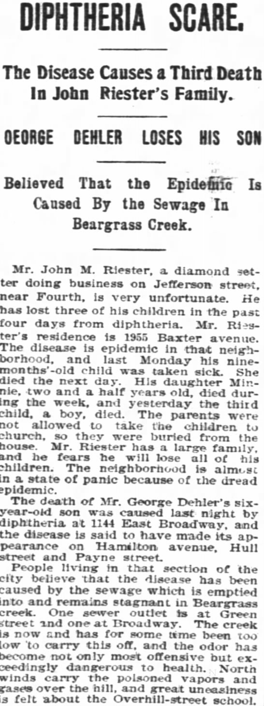 John Riester Diphteria - DIPHTHERIA SCARE. Tbe Disease Causes a Thirl...