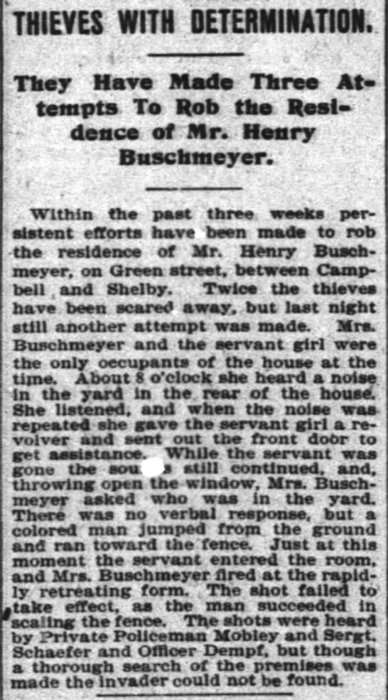 Buschmeyer burglary C-J 2/11/1896 - THIEVES YITH DETERMINATION. They Have Made...