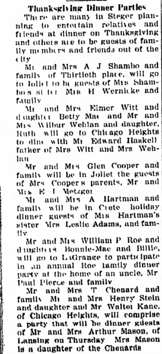 Arthur and Alyda thanksgiving at Aunt Irish Uncle Doc Chgo Hts Star 11/22/1927 - Mnn«r T h i n - are many In StPRor planning to...