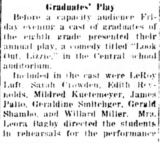 """Gerald Shambo in """"Look Out Lizzie"""" Chgo Hts Star 5-28-1935"""