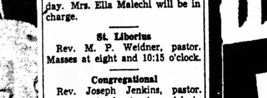 St. Liberius  - Sunday. Mrs. Ella Malechi will be in charge. St...